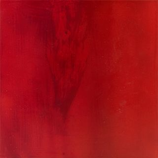 """Anastasia Pelias (1959-, New Orleans), """"So Red,"""" 2012, spray paint on plexiglass, signed and dated en verso, H.- 9 1/2 in., W.- 9 1/2 in., Note: Anast"""