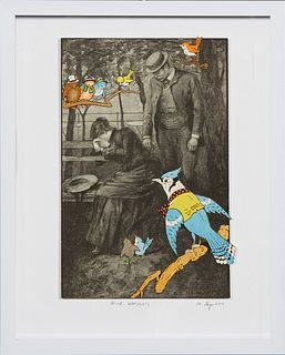 """Michael Pajon (1979-, Chicago/New Orleans), """"Bird Watchers,"""" 2019, mixed media collage, H.- 7 1/2 in., W.- 5 in., Framed H.- 10 1/4 in., W.- 8 1/4 in."""