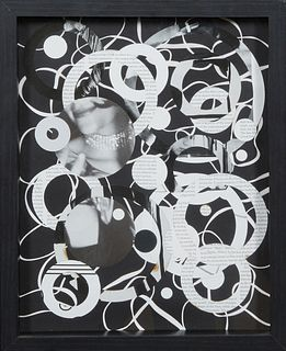 """Jill Stoll (1968-, Louisiana), """"Liz,"""" 2016, photogram collage, presented in a black contemporary framed shadow box, Framed H.- 15 in., W.- 12 in.,  NO"""