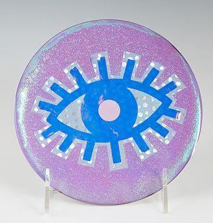 "Danielle Hein (1988-, Virginia/New Orleans), ""Lavender Sunset Eye,"" 2020, mixed media, Dia.- 6 in., NOTE: Born in Virginia Beach, Miss Hein is the dau"