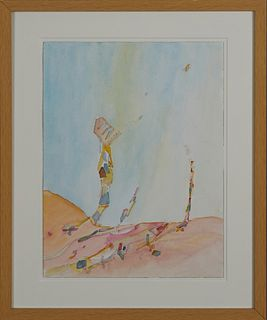 """Nurhan Gokturk (1971-, Turkey/New Orleans), """"Impractical Landscape,"""" 2013, ink and watercolor on paper, unsigned, H.- 16 in., W.- 12 in., Framed H.- 2"""