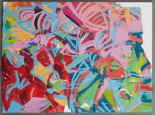 "JoLean Barkley (1979-, New Orleans), ""Don't Pick the Azaleas,"" 2020, mixed media collage, signed en verso, unframed, H.- 30 in., W.- 40 in., NOTE: JoL"
