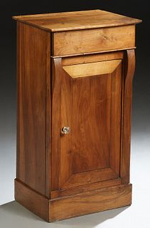 French Empire Style Carved Walnut Nightstand, 19th c, the rectangular top over a frieze drawer and a long cupboard door, on a plinth base, H.- 31 1/4