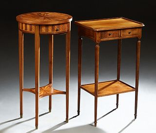 Two French Lamp Tables, 20th c., one an inlaid circular mahogany example with a frieze drawer, on tapered square legs to an inlaid lower shelf; the se