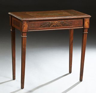 Continental Inlaid Mahogany Side Table, c. 1900, the stepped marquetry inlaid top over a long inlaid frieze drawer, on tapered reeded legs, H.- 29 3/4