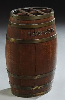 "English Brass Bound Oval Oak Barrel Umbrella Stand, early 20th c., with the words ""Please Use Me,"" in relief iron letters, on one side, H.- 25 3/4 in."
