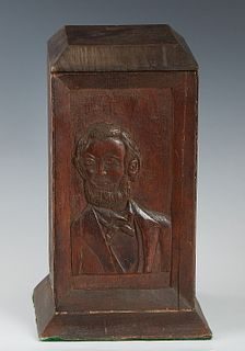 American Civil War Period Folk Art Carved Mahogany Lidded Humidor, c. 1860, the sides with relief carved busts of civil war persona, H.- 10 1/4 in., W