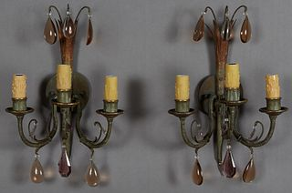 Pair of Bronze Three Light Sconces, c. 1940, the circular back plate issuing a rod with three colored tear drop prisms, and three curved candle arms h
