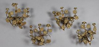 Group of Four Brass Four Light Floriform Sconces, 19th c., not electrified, H.- 11 1/2 in., W.- 12 in., D.- 7 in.
