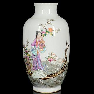 A Famille Rose Figure Porcelain Vase