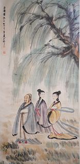 A Chinese Figure Painting Scroll, Fu Baoshi Mark