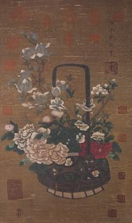 A Chinese Flowers Painting Scroll, Emperor Song Huizong Mark