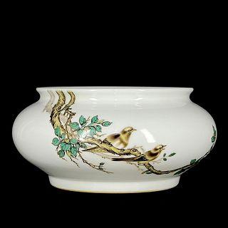 A Famille Rose Flower&Bird Pattern Porcelain Brush Washer