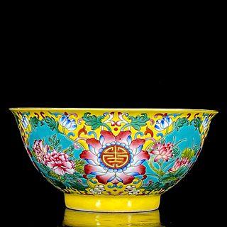 An Enamel Floral Porcelain Shou Character Bowl