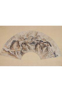 A Chinese Landscape Painting, Dong Bangda Mark