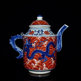 A Blue and White Iron Red Dragon Pattern Porcelain Pot