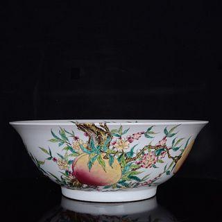 A Famille Rose Floral Peach Pattern Porcelain Bowl