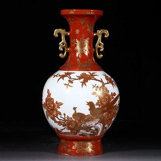 An Enamel Gilt-inlaid Flower&Bird Pattern Porcelain Double Ears Tianqiuping