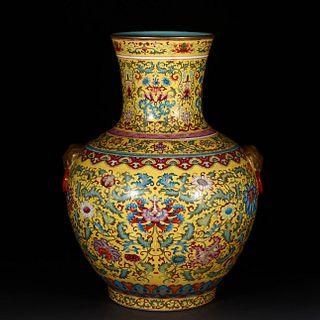 An Enamel Gilt Floral Porcelain Beast Ears Vase