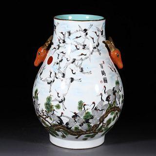 An Enamel Pine&Crane Pattern Porcelain Deer-head Zun