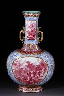 A Blue and White Iron Red Landscape Porcelain Vase