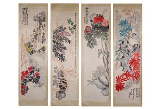 4 Pieces Chinese Flowers Painting Screens, Wu Changshuo Mark