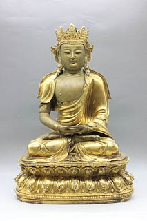 A Gild Bronze Statue of Amitayus Buddha