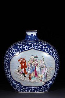 A Blue and White Immortal Figures Porcelain Obalte Vase