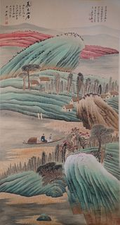 A Chinese Landscape Painting Scroll, Zhang DaQian Mark