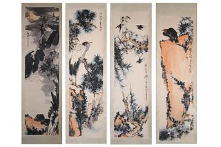 4Pieces Chinese Flower&bird Painting Screens, Pan Tianshou Mark