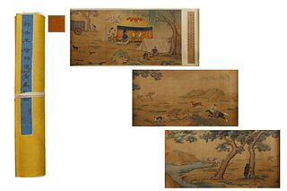 A Chinese Hunting Painting Hand Scroll, Lang Shining Mark