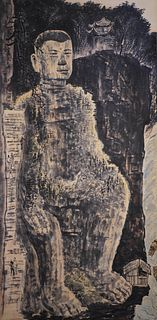A Chinese Jiading Buddha Painting Scroll, Zhang DaQian Mark