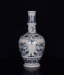 A Blue and White Lotus Pattern Porcelain Vase