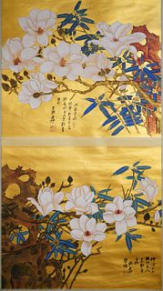 A Chinese Flowers Painting Scroll, Zhang DaQian Mark
