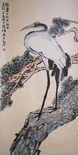 A Chinese Pine&Crane Painting Scroll, Xu Beihong Mark