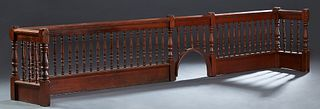 Turned Cypress Communion Rail, early 20th c., with turned posts and spindles, H.- 24 1/2 in., W.- 132 in., D.- 16 in.