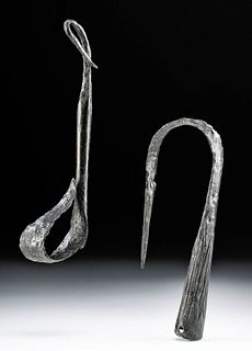Pair of Viking Carbon Steel Killed Spear Heads