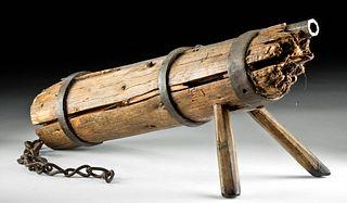 Rare Mid-15th C. German Steel Wall Gun w/ Wood Carriage