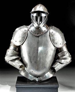 19th C. European Victorian Steel Armor Set w/ Helmet