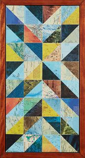 """Kevin Comarda (1978-, New Orleans), """"Macro,"""" 2014, paper collage on canvas, signed and dated en verso, H.- 20 in., W.- 10 in., Framed H.- 21 1/2 in.,"""