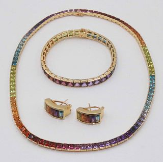 JL 18K Yellow Gold & Semiprecious Stone Suite
