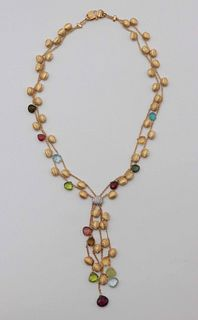 Marco Bicego 18 k Double Strand Lariat Necklace