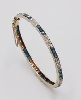 Yellow Gold Diamond and Sapphire Bangle Bracelet