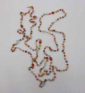 Long Confetti Gemstone Necklace