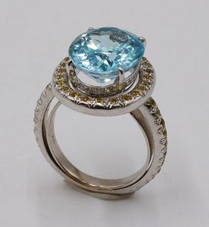Laura Munder 18k White Gold Blue Topaz Ring