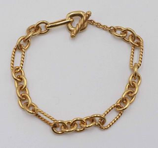 David Yurman 18k Gold Toggle Bracelet