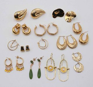 Ten Pair Unmarked 14K Yellow Gold Earrings