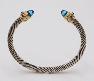 David Yurman 14k and Sterling Bangle Bracelet