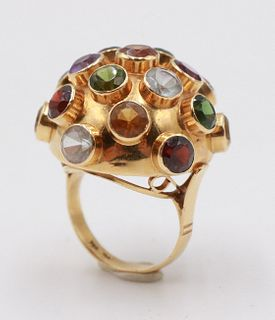 "18K Yellow Gold Semiprecious Stone ""Sputnik"" Ring"