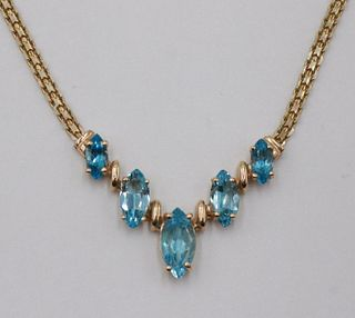 14k Yellow Gold & Blue Topaz Necklace